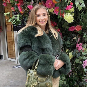 2020 Women Faux Fur Short Coat Fake Fox Fur Outwear Winter Overcoat