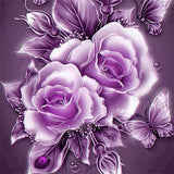 Purple Crystal Rose Flower DIY Diamond Painting