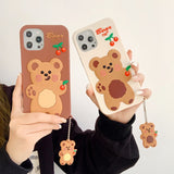 Cute Animals For iPhone 11 12 Mini Pro Xs Max X XR 6 7 8 Plus TPU Soft Silicone Anti-fall Phone SE 2020 Cartoon Lanyard Case