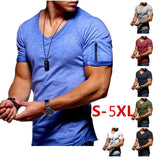 new men's V-neck T-shirt fitness bodybuilding T-shirt high street summer short-sleeved zipper casual cotton top