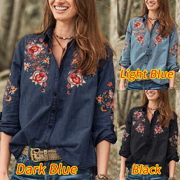 Women Vintage Embroidered Blouse Autumn Long Sleeve Denim Blue Shirts Female Button Down Blusas Party Top Tunic Tops