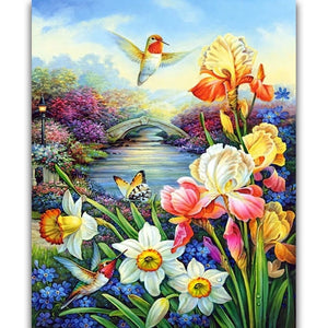 River Flowers Hummingbird DIY Diamond Painting