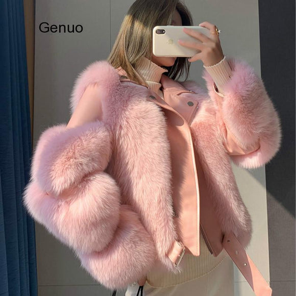 2020 High Quality Furry Cropped Faux Fur and Leather Patchwork Jacket Women Faux Fur Short Coat Fake Fox Fur Outwear Winter Overcoat