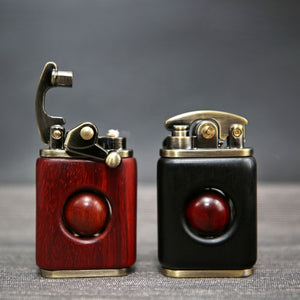 Kerosene lighter rosewood retro solid wood personality creative lighter cigarette cigar igniter pure copper wood high quality