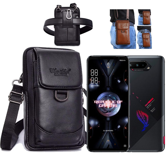 Leather MOLLE Phone Bag Case for Asus ROG Phone 3 4 5 5G Lite Max 8 Ultimate Cover Pocket Waist Belt Wallet Zipper Shoulder Bag