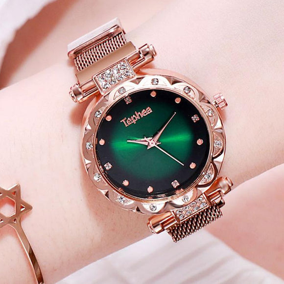 Luxury diamond rose gold Women Watches Starry Sky Fashion Women Watch Ladies Quartz Wristwatch 2020 Young Girl Waterproof