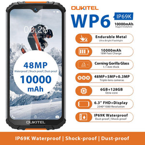 OUKITEL WP6 IP68 Rugged Waterproof Smartphone MT6771T Octa Core 9V/2A 10000mAh Battery 48MP Triple Camera 6GB 128GB Mobile Phone