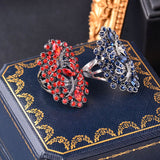 Vintage Big Hollow Blue Rhinestone Dragonfly Rings Women Antique Silver Color Wedding Party Jewelry JZ565 SSC