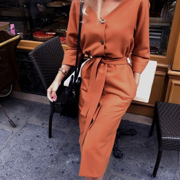 Sexy v Neck Autumn Long Sleeve Women Dress Ladies Sashes Button Casual Office Dress 2019 New Fashion Women Midi Dress Vintage