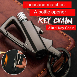 Ten thousand matches kerosene lighter key chain metal lighter creative personality outdoor flint bucke lighter Bottle Opener