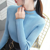 Womens Sweaters Autumn and Winter Fashion Women's Sweater High ElasticTurtleneck Sweater Female Slim Letter Long Sleeve Pullover