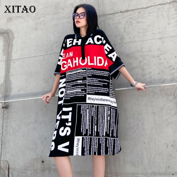 Plus Size Letter Print Split Women Clothes 2021 Summer Dress