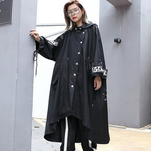 Spliced Plus Size Black Trench For Women Tide Long Print Streetwear Hoodie Casual Female Wide Waisted Coat