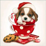 Sweet Christmas Puppy In Cup