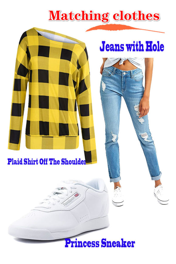 Women's Plaid Shirt Off The Shoulder +Skinny Jeans with Hole + Princess Sneaker #Matching clothes