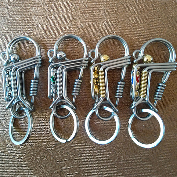 Outdoor DIY Key Chain Spring Rope Keyring Carabiner Snap Key