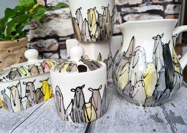 Crowd of Dogs Hand illustrated ceramic cube planter 2nds