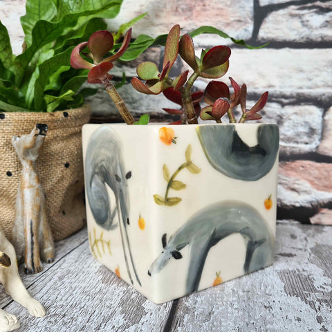 One of a kind Hand illustrated dogs with oranges ceramic cube planter
