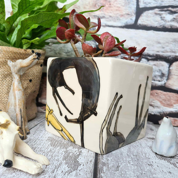 One of a kind Hand illustrated dog ceramic cube planter