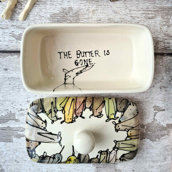 Crowd of Dogs Hand illustrated butter dish