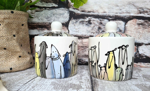 Crowd of Dogs Hand illustrated ceramic sugar bowl