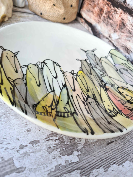 Crowd of Dogs Hand illustrated side plate 20.3 cm
