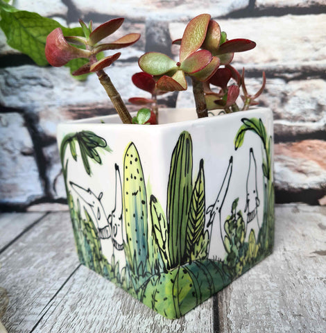 Dogs in cactus Hand illustrated ceramic cube planter