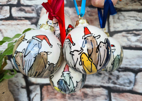 Hand illustrated ceramics baubles 6.3cm