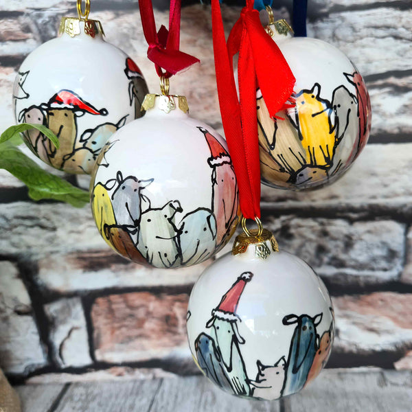 Large Hand illustrated ceramics baubles 8.9cm