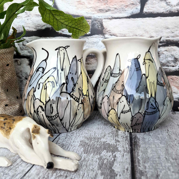 Crowd of Dogs Hand illustrated Half litre pitcher / jug