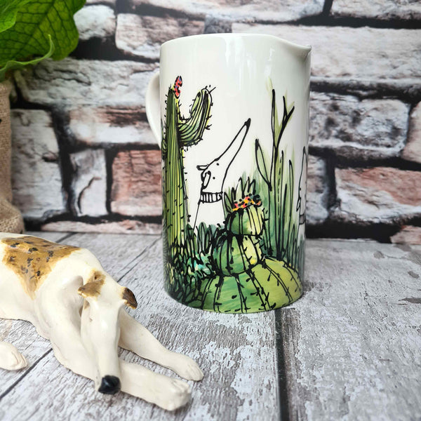Dogs in Cactus Hand illustrated straight sided Half litre jug