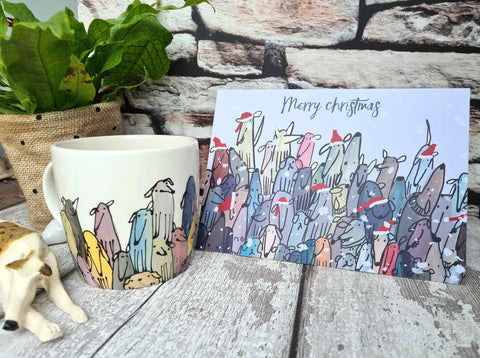 Colourful Crowd of Dogs Merry Christmas card A5 (148 x 210mm)
