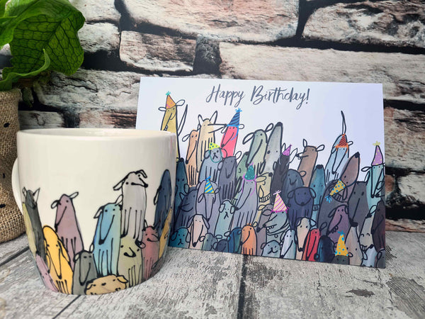 Colourful Crowd of Dogs Birthday card A5 (148 x 210mm)