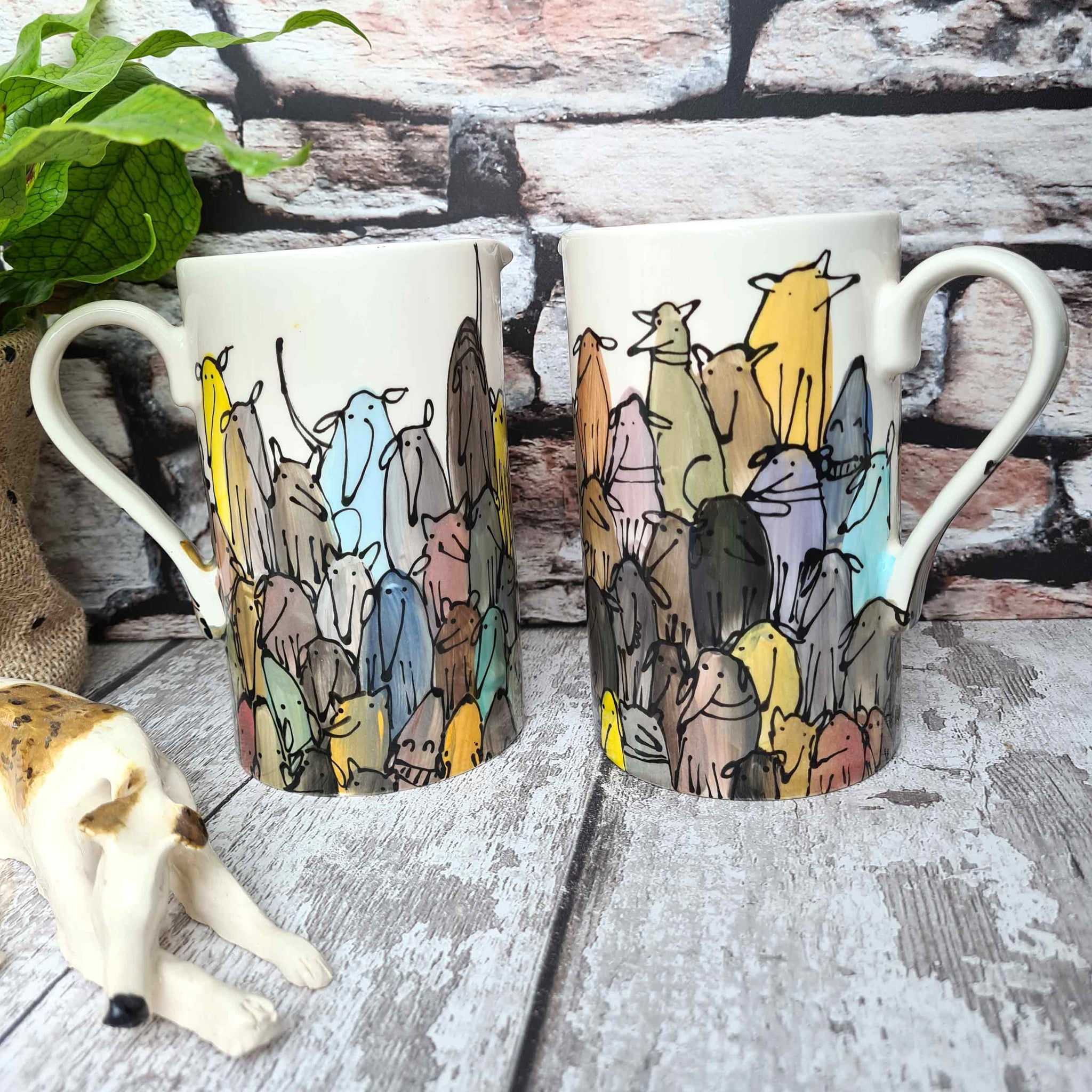 Crowd of Dogs Hand illustrated straight sided Half litre jug