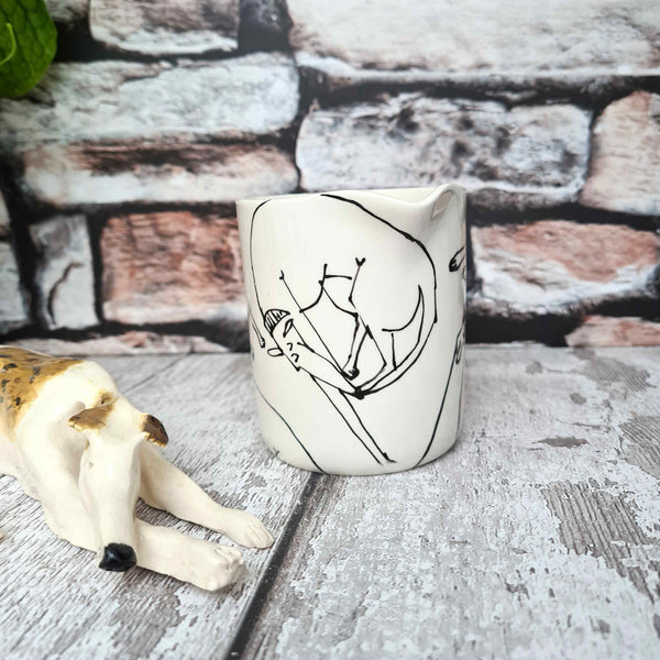 Small hand illustrated cream jugs Creamer 7cm D x 6.1cm H