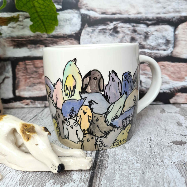 'All the Chickens' one of a kind Hand illustrated 12oz Ceramic Mug