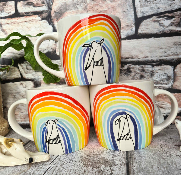 Rainbow dog - Hand Illustrated 12oz Mug limited stock