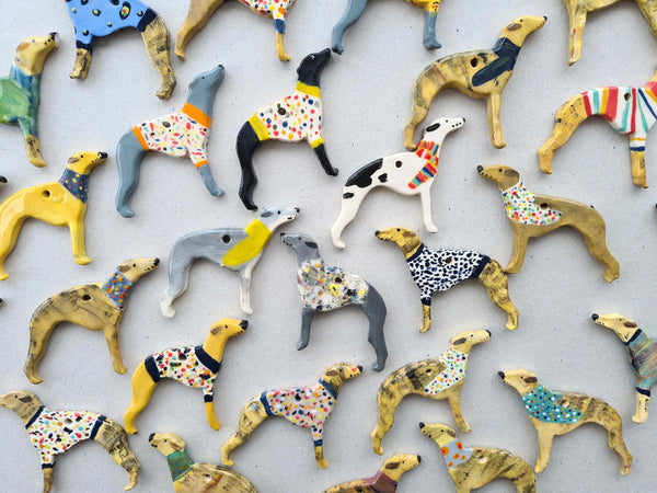 Handmade hanging Ceramic whippet Christmas decoration
