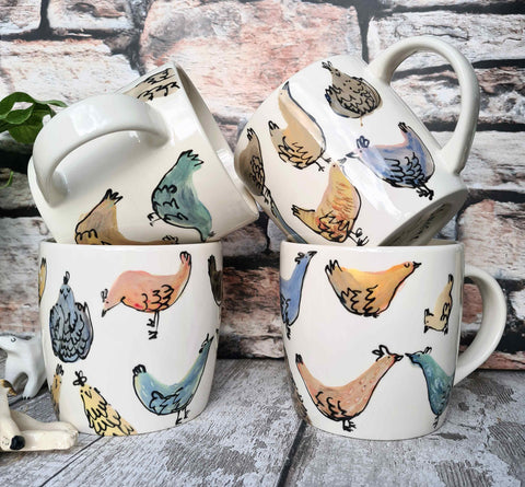'All the Chickens' Hand illustrated 12oz Ceramic Mug