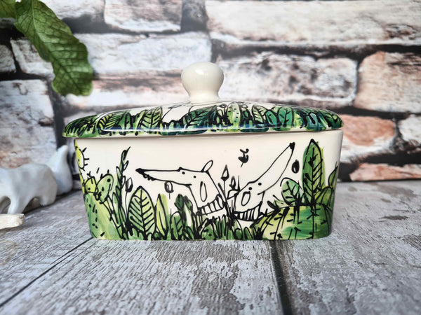 Dogs in cactus Hand illustrated butter dish