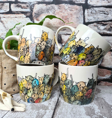 Crowd of Cats Hand Painted cat Mug