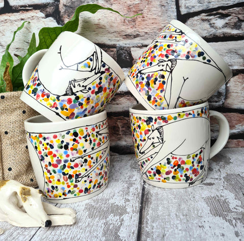 Speckled mug one of a kind Hand illustrated 12oz Ceramic Mug