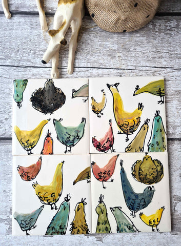 Hand Illustrated single Ceramic Chicken Tile / coaster