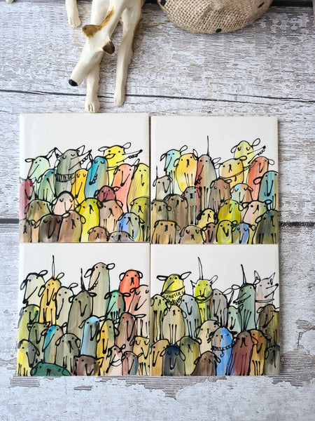 Crowd of Dogs Hand Illustrated single Ceramic Dog Tile / coaster