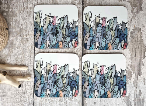Hardback wood crowd of dog coasters 9cm
