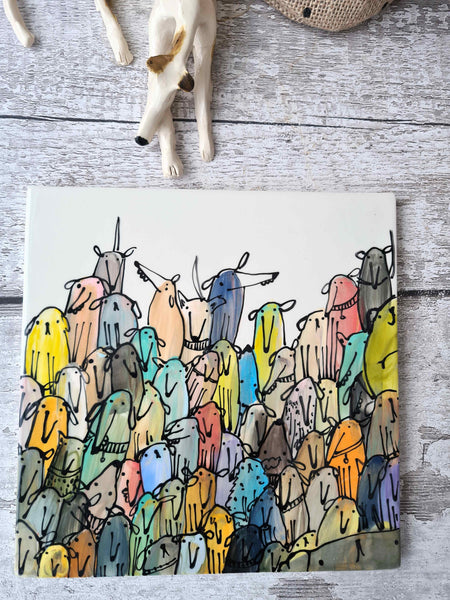 One of a kind hand many dogs illustrated 20cm x 20cm tile / trivet