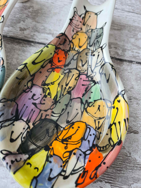 Crowd of dogs one of a kind hand illustrated spoon rest