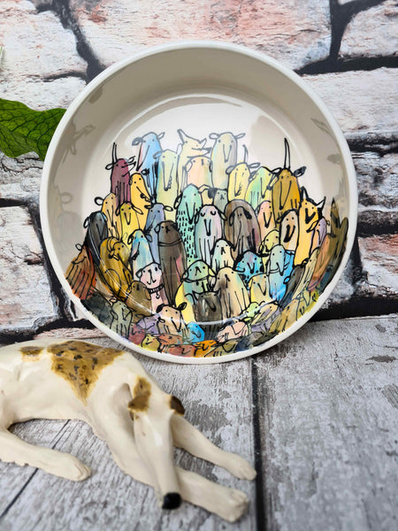 Hand illustrated one of a kind bowl 19cm diameter