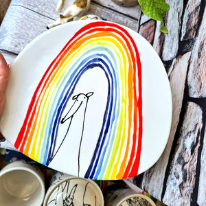 Rainbow dog side plate