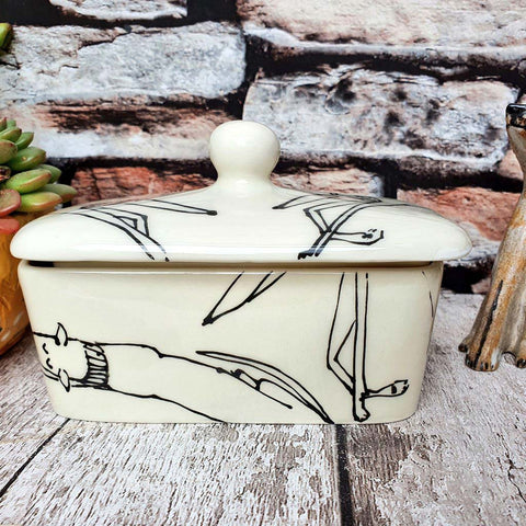 Sleeping Dogs Butter dish *SECONDS* Please read description - Hand illustrated  with secret buttery message inside - limited stock